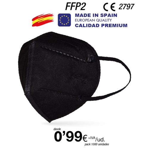 Mascarillas FFP2 Negras Made in Spain Calidad Premium con certificado BSI 731233