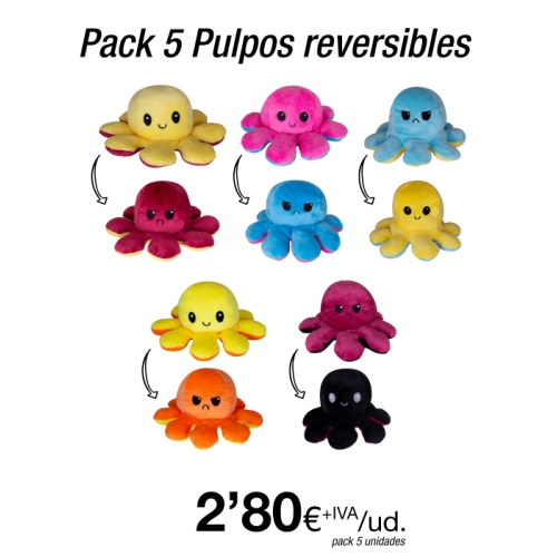 Pack 5 Peluches Pulpo Reversible 20 cm  Deluxe